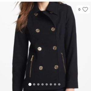 MICHAEL by Michael Kors Black Wool Peacoat